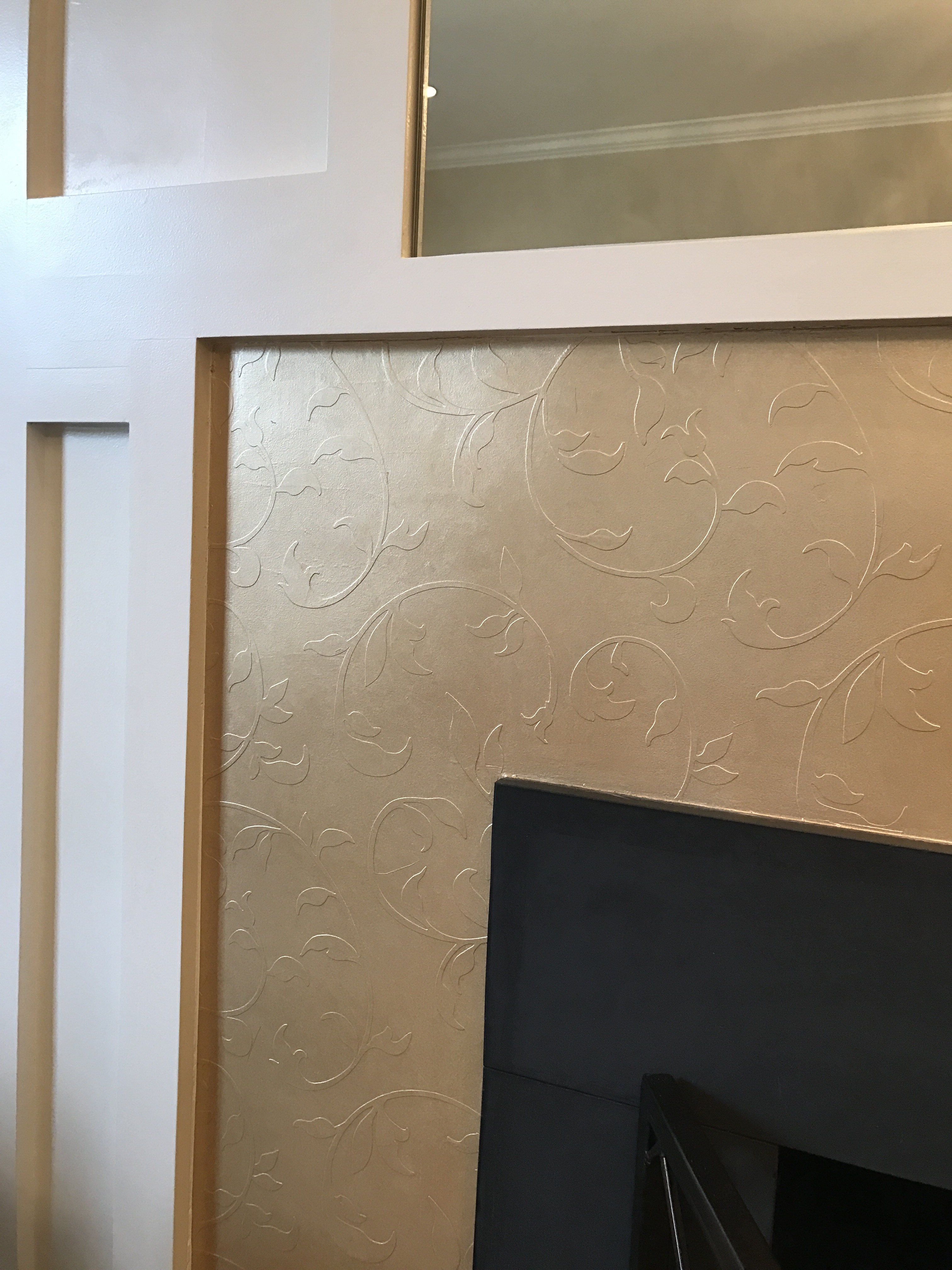 hand painted fireplace surround